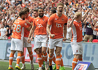 Football - 2017 Sky Bet [EFL] League Two Play-Off Final - Blackpool vs. Exeter City<br /> <br />  Backpool players celebrate after Brad Potts opens the scoring at Wembley.<br /> <br /> COLORSPORT/DANIEL BEARHAM
