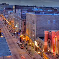 Nighttime on Gay Street in downtown Knoxville, Tennessee