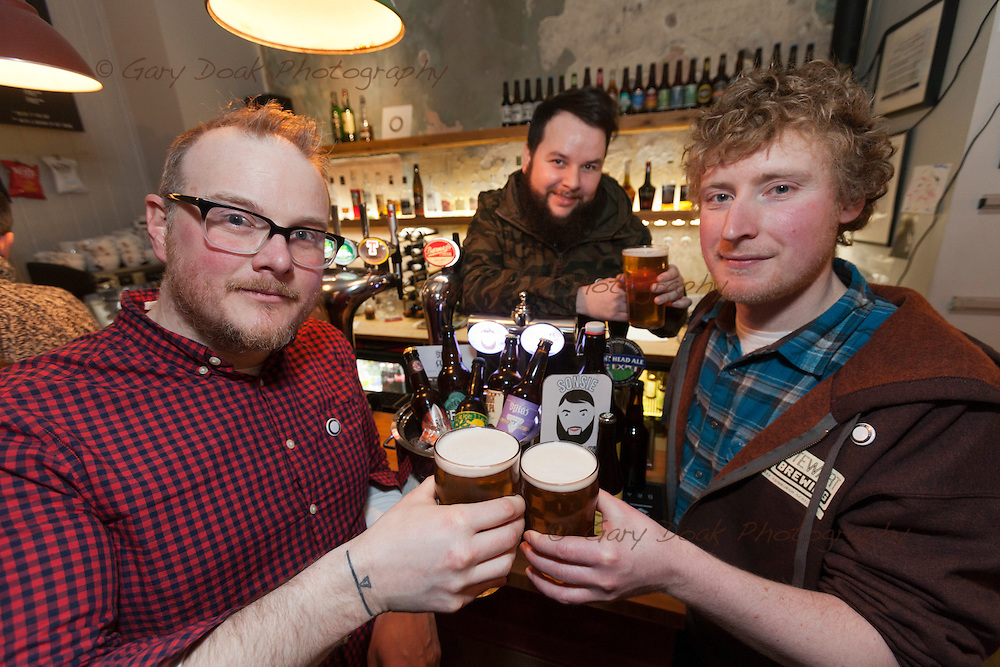 Gluten-free beer at Skylark, Portobello<br /> (left to right) Paul Lambie, bar owner, Gregor Ziecinski, bar manager and Craig Scotland , brewer (Stewart Brewing)<br /> <br /> Edinburgh, Feb 2016<br /> Picture by Gary Doak