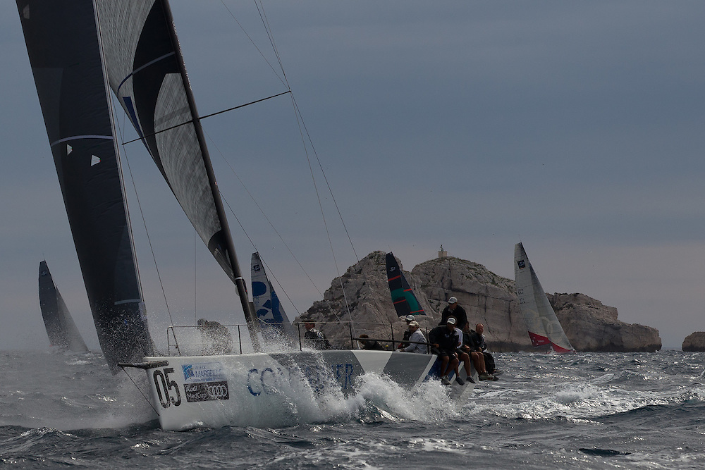 FRANCE, Marseille. 18th June 2011. AUDI MedCup Marseille Trophy. TP52, CONTAINER leads the fleet during the Costal Race.