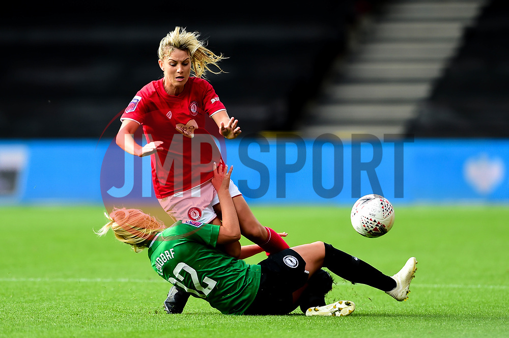 Gemma Evans of Bristol City is tackled by Matilde Lundorf of Brighton and Hove Albion Women - Mandatory by-line: Ryan Hiscott/JMP - 07/09/2019 - FOOTBALL - Ashton Gate - Bristol, England - Bristol City Women v Brighton and Hove Albion Women - FA Women's Super League