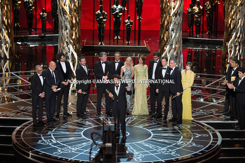 22.02.2015; Hollywood, California: 87TH OSCARS - Andrea Riseborough, Emma Stone, Naomi Watts, Edward Norton amnd the cast of &quot;Birdman&quot; watch Alejandro G. I&ntilde;&aacute;rritu accept the Oscar&reg; for Best motion picture of the year, for work on &ldquo;Birdman during the Annual Academy Awards Telecast, Dolby Theatre, Hollywood.<br /> Mandatory Photo Credit: NEWSPIX INTERNATIONAL<br /> <br />               **ALL FEES PAYABLE TO: &quot;NEWSPIX INTERNATIONAL&quot;**<br /> <br /> PHOTO CREDIT MANDATORY!!: NEWSPIX INTERNATIONAL(Failure to credit will incur a surcharge of 100% of reproduction fees)<br /> <br /> IMMEDIATE CONFIRMATION OF USAGE REQUIRED:<br /> Newspix International, 31 Chinnery Hill, Bishop's Stortford, ENGLAND CM23 3PS<br /> Tel:+441279 324672  ; Fax: +441279656877<br /> Mobile:  0777568 1153<br /> e-mail: info@newspixinternational.co.uk