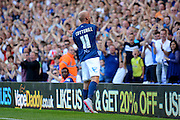 David Cotterill celebrates with the fans after scoring first goal during the Sky Bet Championship match between Birmingham City and Reading at St Andrews, Birmingham, England on 8 August 2015. Photo by Alan Franklin.