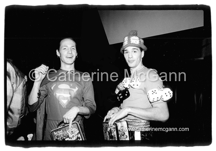L-R:  James St. James and Michael Alig pose for a photo at the opening of club Red Zone on August 8th, 1988 in New York City.<br /> <br /> Copyright Catherine McGann / All Rights Reserved<br /> www.catherinemcgann.com<br /> catherinemcgann@gmail.com