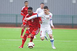 YSTRAD MYNACH, WALES - Thursday, February 19, 2015: Wales' Elijah Chilekwa and Czech Republic's Tomas Balvin during a friendly match at the Centre of Sporting Excellence. (Pic by Carl Robertson/Propaganda)