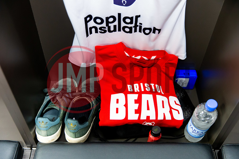 Nic Stirzaker kit in the Bristol Bears dressing room ahead of the game - Rogan/JMP - 24/08/2018 - RUGBY UNION - Ashton Gate Stadium - Bristol, England - Bristol Bears v Connacht - Pre Season Friendly.