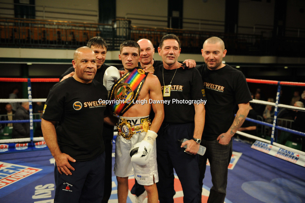 Lee Selby (with team) defeats John Simpson for The British & Commonwealth Featherweight Title at York Hall, Bethnal Green, London on 14th December 2011. Frank Warren Promotions. Photo credit: © Leigh Dawney 2011.