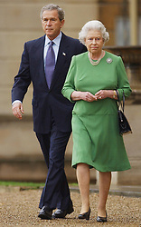 US President George Bushwalks with Britain's Queen Elizabeth II as he and his wife leave Buckingham Palace, to travel to the Sedgefield constituency of British Prime Minister Tony Blair. The President and his wife are on the last day of their three-day state visit to the UK.