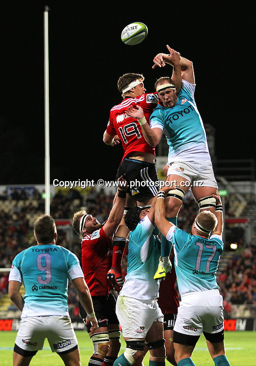 Carl Wegner of the Cheetahs wins a lineout during the Investec Super Rugby game between the Crusaders v Cheetahs at AMI Stadium in Christchurch. 21 March 2015 Photo: Joseph Johnson/www.photosport.co.nz