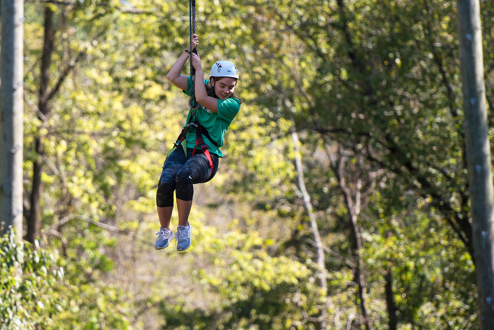 Lexi Mace ziplines at The Ridges on Parents Weekend. Photo by Hannah Ruhoff
