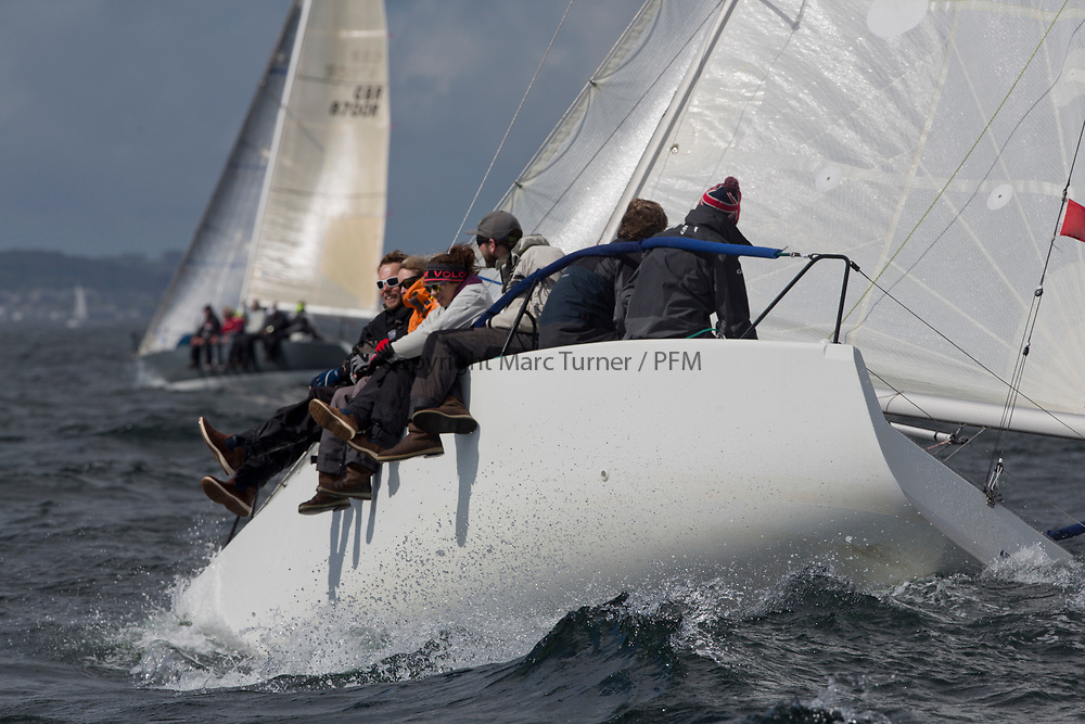 Pelle P Kip Regatta 2017 run by Royal Western Yacht Club at Kip Marina on the Clyde. <br /> <br /> Doug Paton on Beneteau 25<br /> <br /> Image Credit Marc Turner