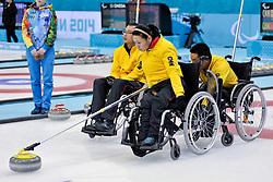 Guangqin Xu, Qiang Zhang, Wei Liu, Wheelchair Curling Semi Finals at the 2014 Sochi Winter Paralympic Games, Russia