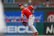 March 26, 2018 - Arlington, TX, U.S. - ARLINGTON, TX - MARCH 26: Cincinnati Reds second baseman Scooter Gennett (3) fields a ground ball during the exhibition game between the Cincinnati Reds and Texas Rangers on March 26, 2018 at Globe Life Park in Arlington, TX. (Photo by Andrew Dieb/Icon Sportswire) (Credit Image: © Andrew Dieb/Icon SMI via ZUMA Press)