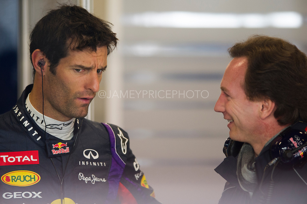 February 21, 2013 - Barcelona Spain. Mark Webber, Red Bull Racing and Christian Horner during pre-season testing from Circuit de Catalunya.