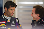 February 21, 2013 - Barcelona Spain. Mark Webber, Red Bull Racing and Christian Horner during pre-season testing from Circuit de Catalunya.