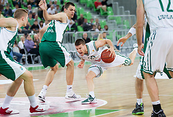 Jure Balazic of Krka vs Jan Mocnik of Union Olimpija during basketball match between KK Union Olimpija and KK Krka in 4th Final match of Telemach Slovenian Champion League 2011/12, on May 24, 2012 in Arena Stozice, Ljubljana, Slovenia.  (Photo by Vid Ponikvar / Sportida.com)