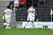 Milton Keynes Dons forward Rhys Healey (10) scores a goal and celebrates  1-0 during the EFL Sky Bet League 1 match between Milton Keynes Dons and Shrewsbury Town at stadium:mk, Milton Keynes, England on 10 August 2019.