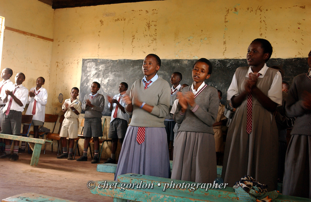 Elementary schoolchildren singing in their classroom at the DaySpring Academy in Thika, Kenya. November 2002.