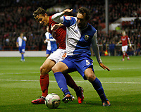 Football - Championship- Nottingham Forest v Blackburn-Nottingham Forests' Chris Cohen and Blackburns' Gael Givet battle for the ball at The City Ground