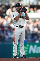 SAN FRANCISCO, CA - AUGUST 13: Madison Bumgarner #40 of the San Francisco Giants stands on the pitchers mound during the first inning against the Oakland Athletics at Oracle Park on August 13, 2019 in San Francisco, California. The San Francisco Giants defeated the Oakland Athletics 3-2. (Photo by Jason O. Watson/Getty Images) *** Local Caption *** Madison Bumgarner