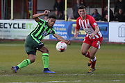 Lyle Taylor forward for AFC Wimbledon (33) takes aim early in the 2nd half during the Sky Bet League 2 play-off 2nd leg match between Accrington Stanley and AFC Wimbledon at the Fraser Eagle Stadium, Accrington, England on 18 May 2016. Photo by Stuart Butcher.