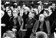 Inaugeration of Cearbhall O'Dalaigh as President  (H77).1974..19.12.1974..12.19.1974..19th December 1974..Following the sudden death of President Erskine Childers, Mr Cearbhall O'Dalaigh was nominated by The Fianna Fail party as its candidate to replace him. The Fine Gael /Labour coalition government did not oppose the nomination and Mr O'Dalaigh was elected un-opposed on a joint party agreement...Archbishop of Dublin, Dermot Ryan (Left) is pictured among the invited audience at the inaugeration ceremony.