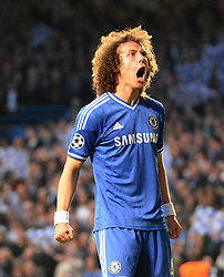 30.04.2014, Stamford Bridge, London, ENG, UEFA CL, FC Chelsea vs Atletico Madrid, Halbfinale, Rueckspiel, im Bild Chelsea's defender David Luiz // Chelsea's defender David Luiz during the UEFA Champions League Round of 4, 2nd Leg Match between Chelsea FC and Club Atletico de Madrid at the Stamford Bridge in London, Great Britain on 2014/05/01. EXPA Pictures &copy; 2014, PhotoCredit: EXPA/ Mitchell Gunn<br /> <br /> *****ATTENTION - OUT of GBR*****