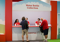 The water bottle collection area at the Prudential main stand at The Cycling Show at The Excel Centre. Prudential RideLondon in London 27th July 2017<br /> <br /> Photo: Jed Leicester/Silverhub for Prudential RideLondon<br /> <br /> Prudential RideLondon is the world's greatest festival of cycling, involving 95,000+ cyclists – from Olympic champions to a free family fun ride - riding in events over closed roads in London and Surrey over the weekend of 27th to 30th July 2017. <br /> <br /> See www.PrudentialRideLondon.co.uk for more.<br /> <br /> For further information: media@londonmarathonevents.co.uk