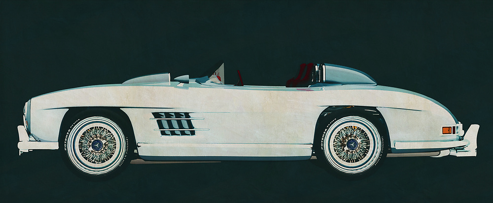 The Mercedes 300 SL Daytona Concept Roadster is based on the legendary Mercedes Gullwings. The concept is an open roadster with the Daytona 500 circuit in mind. Of course this is only a concept but it is fun to hang on your wall as a painting to impress your guests.<br />