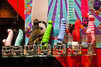 Amsterdam, Holland. Artistic Dildos in a window display in the red light district.