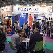 Hundreds of exhibitors at the Professional Clothing Show - Safety and Health Expo at Excel London, UK on June 19 2018.