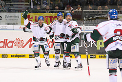 30.12.2013, Saturn-Arena, Ingolstadt, GER, DEL, ERC Ingolstadt vs Augsburger Panther, 33. Runde, im Bild l-r: Torjubel von Ryan BAYDA #18 (Augsburger Panther), Andy REISS #96 (Augsburger Panther), Stephen WERNER #19 (Augsburger Panther) // during germans DEL Icehockey League 33th round match between ERC Ingolstadt and Augsburger Panther at the Saturn-Arena in Ingolstadt, Germany on 2013/12/30. EXPA Pictures © 2014, PhotoCredit: EXPA/ Eibner-Pressefoto/ Kolbert<br /> <br /> *****ATTENTION - OUT of GER*****