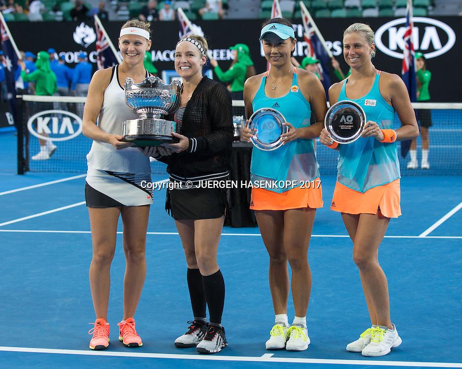 Sieger BETHANIE MATTEK-SANDS-LUCIE SAFAROVA und die Finalisten SHUAI PENG-ANDREA HLAVACKOVA,Doppel Sieger,Praesentation<br /> <br /> Australian Open 2017 -  Melbourne  Park - Melbourne - Victoria - Australia  - 27/01/2017.