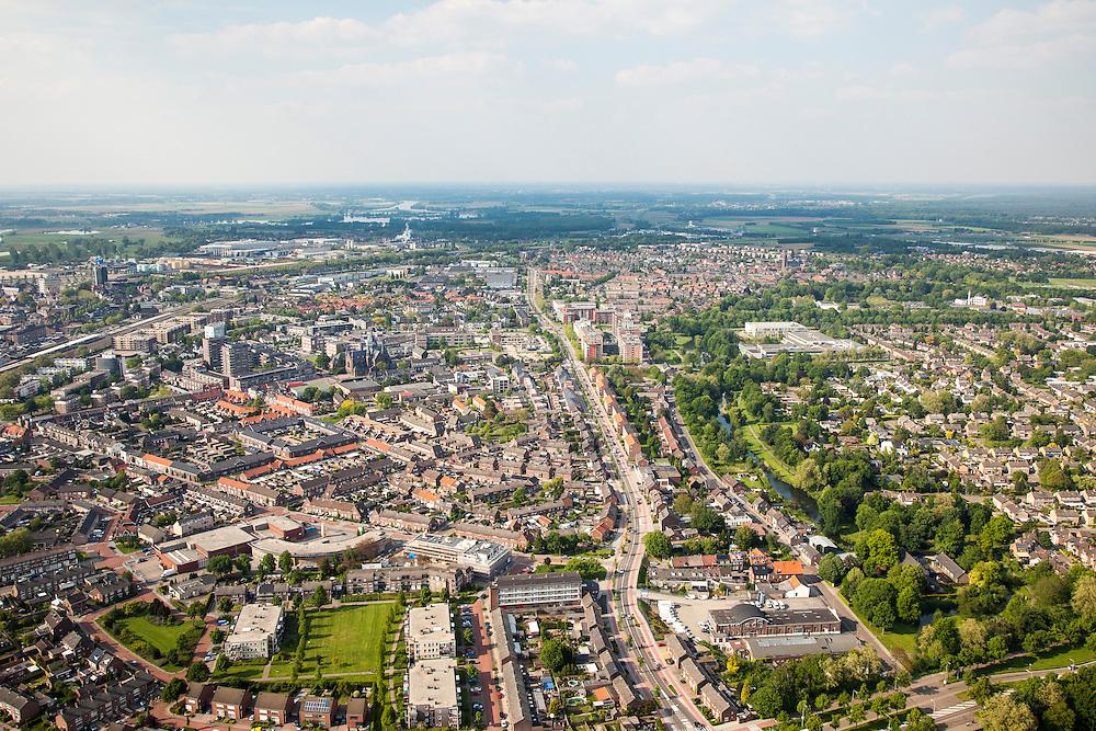 Nederland, Limburg, Roermond, 27-05-2013;<br /> centrum en oostelijke deel, Bredeweg<br /> Overview Roermond.<br /> luchtfoto (toeslag op standard tarieven)<br /> aerial photo (additional fee required)<br /> copyright foto/photo Siebe Swart