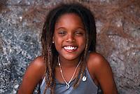 An 11 year old Bermudian girl on the beach at Horseshoe Bay, Bermuda