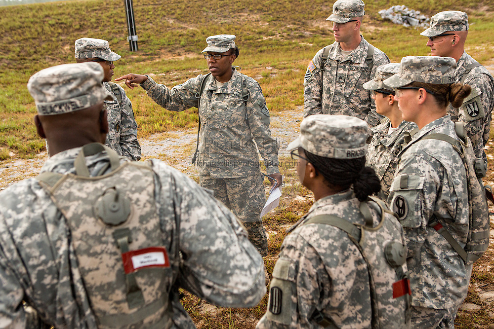 A women Drill Sergeant candidate directs other candidates at the US Army Drill Instructors School Fort Jackson September 26, 2013 in Columbia, SC. While 14 percent of the Army is women soldiers there is a shortage of female Drill Sergeants.