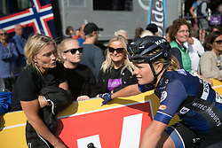 Emilie Moberg (NOR) of Hitec Products Cycling Team chats to her mum after Stage 3 of the Ladies Tour of Norway - a 156.6 km road race, between Svinesund (SE) and Halden on August 20, 2017, in Ostfold, Norway. (Photo by Balint Hamvas/Velofocus.com)