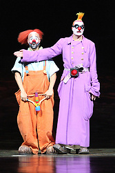 © London News PIctures. Moto; Tall Clown; Pablo Bermejo; Small Clown; Pablo Gomez perform at Cirque Du Soleil Alegria opening night, O² Arena, London UK, 18 July 2013. Photo credit: Richard Goldschmidt/LNP