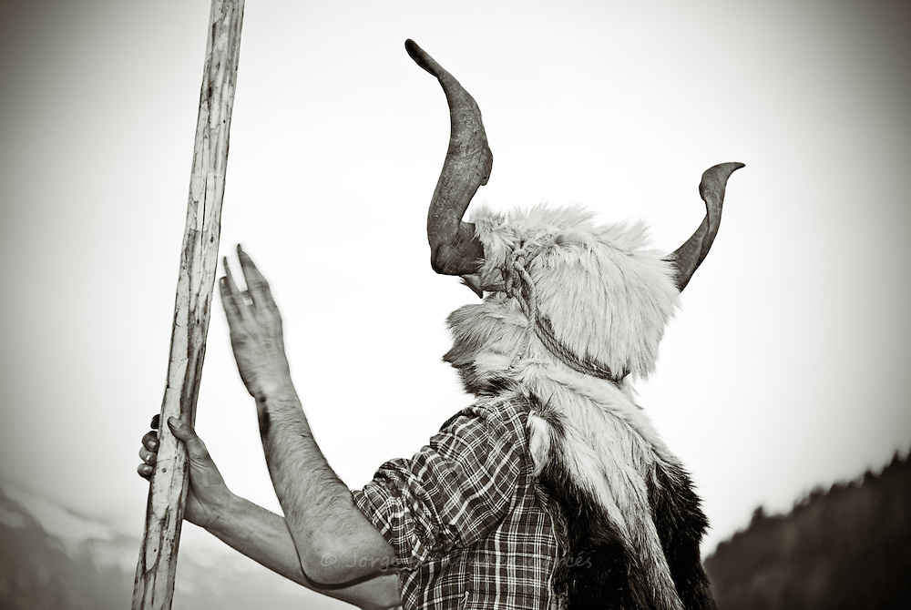 Photograph taken during Bielsa carnival. This is a traditional festival that has been taking place over the centuries surviving even the prohibition during Franco´s dictatorship. Bielsa, Pyrenees, Aragon, Spain.