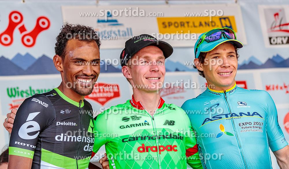 04.07.2017, Pöggstall, AUT, Ö-Tour, Österreich Radrundfahrt 2017, 2. Etappe von Wien nach Pöggstall (199,6km), Siegerehrung, im Bild Mekseb Debesay (ERI, Team Dimension Data), Tom Jelte Slagter (NED, Cannondale Drapac Professional Cycling Team), Miguel Angel Lopez Moreno (COL, Astana Pro Team) // on podium during the 2nd stage from Vienna to Pöggstall (199,6km) of 2017 Tour of Austria. Pöggstall, Austria on 2017/07/04. EXPA Pictures © 2017, PhotoCredit: EXPA/ JFK