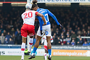 Ivan Toney (17) & Michael Ihiekwe (20) clash for the ball during the EFL Sky Bet League 1 match between Peterborough United and Rotherham United at London Road, Peterborough, England on 25 January 2020.