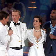 NLD/Baarn/20070221 - Live uitzending RTL Dancing on Ice, Martijn Krabbe, Jan Postulart en schaatspartner Joëlle Bastiaans en John Williams
