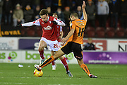 Brandon Barker of Rotherham United and Wolverhampton Wanderers midfielder Conor Coady during the Sky Bet Championship match between Rotherham United and Wolverhampton Wanderers at the New York Stadium, Rotherham, England on 5 December 2015. Photo by Ian Lyall.