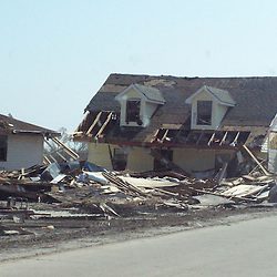 Scenes of devastation left in the aftermath of Hurricane Katrina that flooded the small city of Buras, Louisiana in Plaquemines Parish on August 29, 2005. A house washed off it's foundations sits near the main road in Empire, Louisiana...(Mandatory Credit: Photo by Derick E. Hingle)