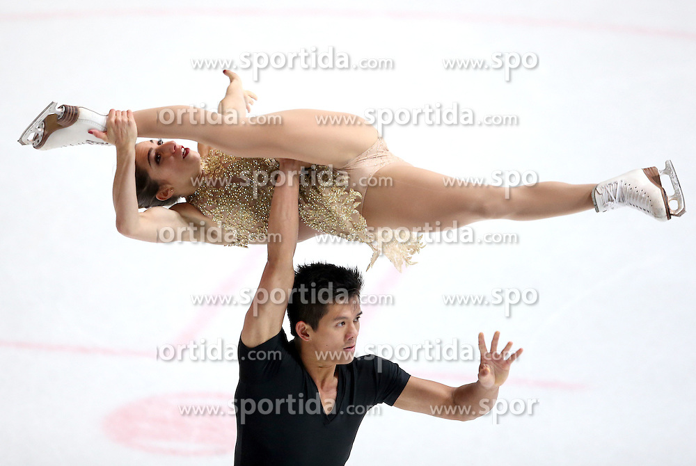 03.12.2015, Dom Sportova, Zagreb, CRO, ISU, Golden Spin of Zagreb, Kurzprogramm, Paare, im Bild Marissa Castelli - Mervin Tran, USA // during the 48th Golden Spin of Zagreb 2015 Pairs Short Program of ISU at the Dom Sportova in Zagreb, Croatia on 2015/12/03. EXPA Pictures &copy; 2015, PhotoCredit: EXPA/ Pixsell/ Igor Kralj<br /> <br /> *****ATTENTION - for AUT, SLO, SUI, SWE, ITA, FRA only*****