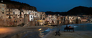 Last light on the waterfront of Cefalù, Sicily, Italy