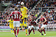 AFC Wimbledon striker Lyle Taylor (33) on the attack during the EFL Sky Bet League 1 match between Northampton Town and AFC Wimbledon at Sixfields Stadium, Northampton, England on 20 August 2016. Photo by Stuart Butcher.