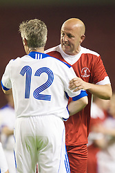 LIVERPOOL, ENGLAND - Thursday, May 14, 2009: Liverpool Legends' Gary McAllister and All Stars' Alan Irvine during the Hillsborough Memorial Charity Game at Anfield. (Photo by David Rawcliffe/Propaganda)