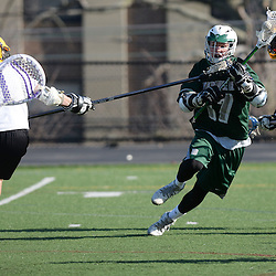 Staff photos by Tom Kelly IV<br /> Bonner-Prendie's Brendan Kelly (17) runs with the ball during the Upper Darby at Bonner-Prendie boys lacrosse game on Monday, March 23, 2015.