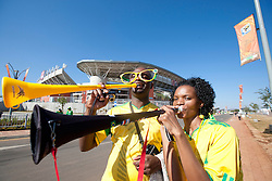 South Africa fans arrive ahead for the Group C first round 2010 FIFA World Cup South Africa match between Algeria and Slovenia at Peter Mokaba Stadium on June 13, 2010 in Polokwane, South Africa.  (Photo by Vid Ponikvar / Sportida)